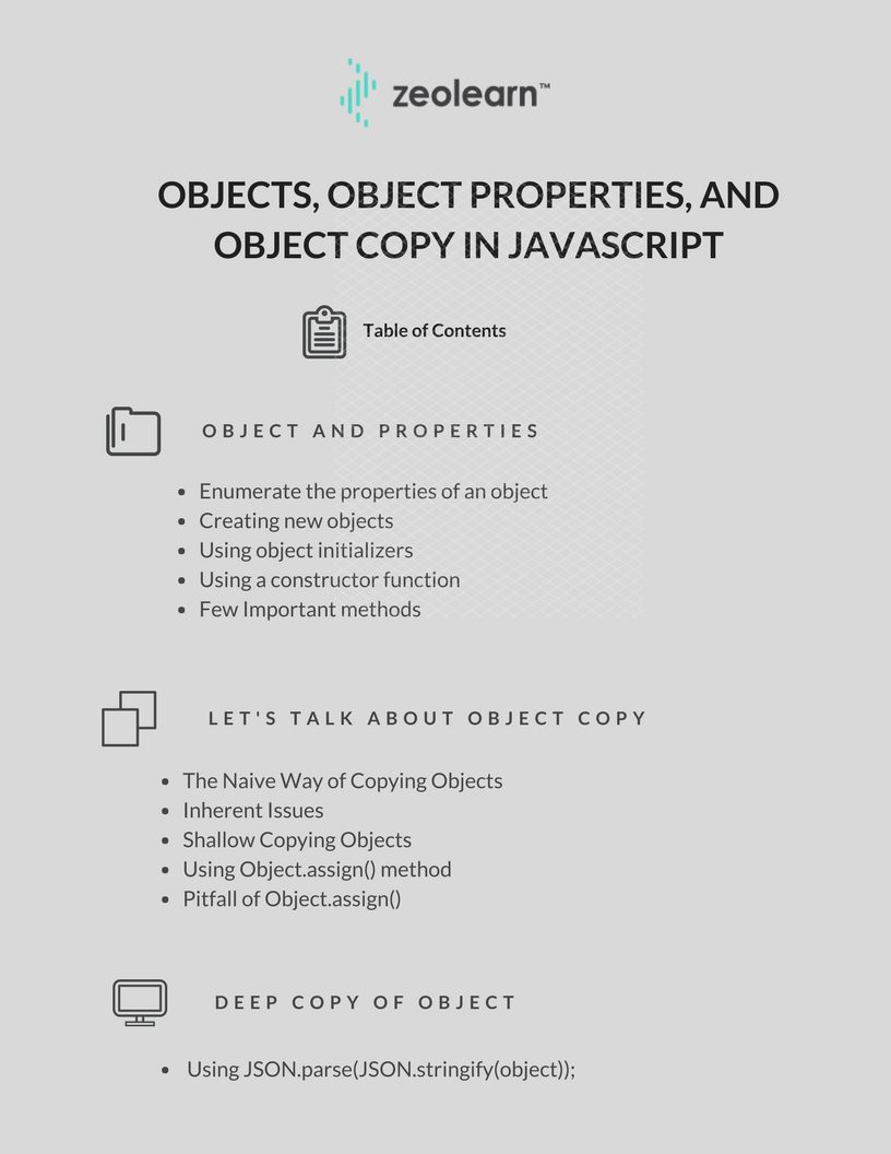 Objects, object properties and object copy  in Javascript